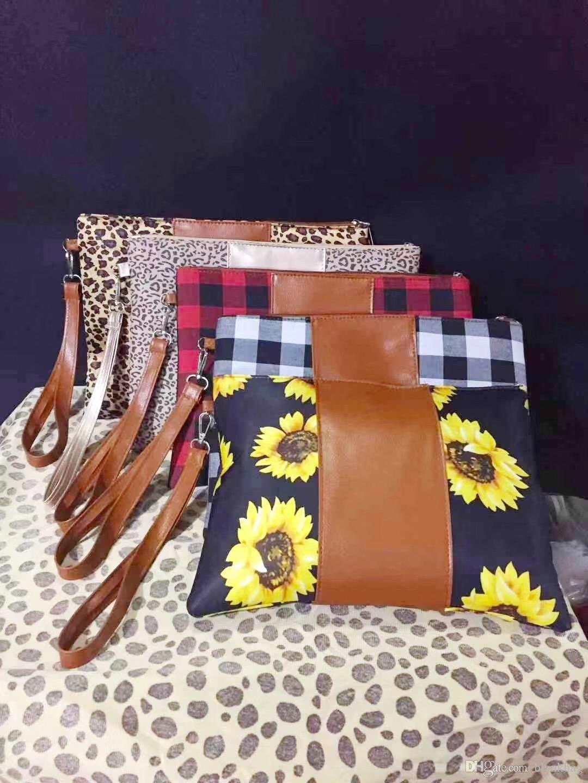 Nouvelle toile buffle femmes carreaux sac d'embrayage imprimé léopard en cuir patchwork sac sac à glissière Wristlet tournesol cosmétiques patchwork petit sac