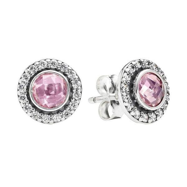Nouveau authentique réel 925 pierre rose en argent sterling CZ Pandora Boucles d'oreilles 290553PCZ Bricolage Jewelrynew
