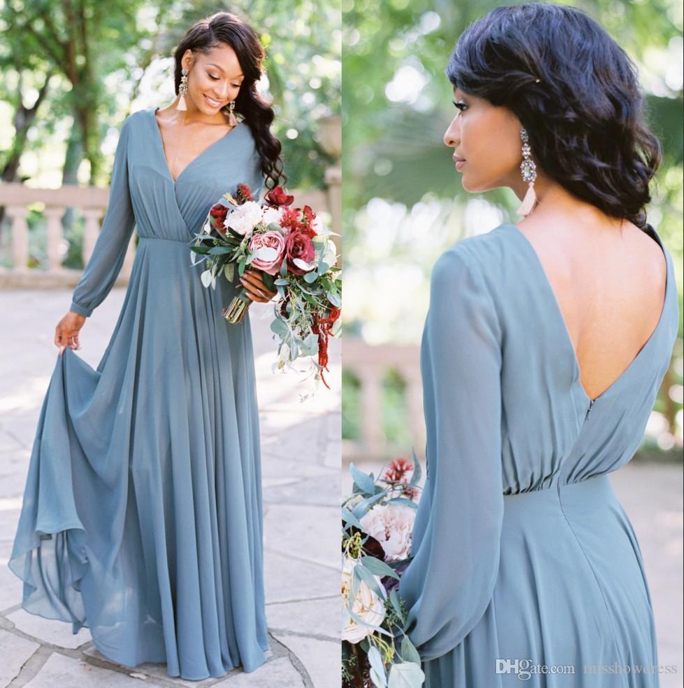 2019 Bohemia V Neck Chiffon Long Bridesmaid Dresses Long Sleeves Ruched Floor Length Wedding Guest Maid of Honor Dresses BM0238