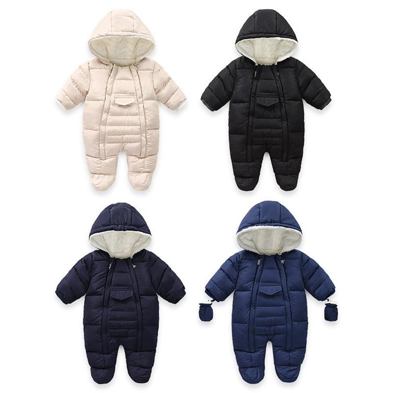 Toddler Baby Boy Girl Winter Warm Romper Jacket Hooded Jumpsuit Coat Outfit US