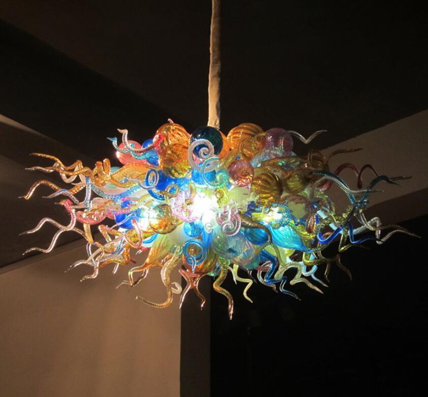 LED Lampadario Lampade colorato di Murano Glass Ceiling lampadario alto appesi lampadario in vetro soffiato palla Chandelier Light Fixtures
