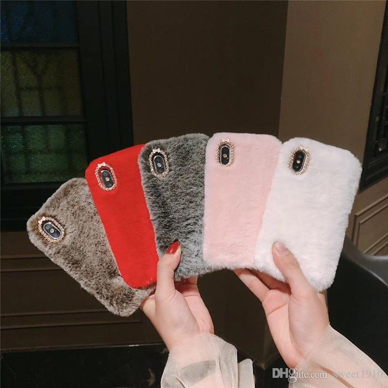 Para iphone xs max imitação três lado suave shell telefone celular de pelúcia pelúcia da Apple 7plus capa protetora