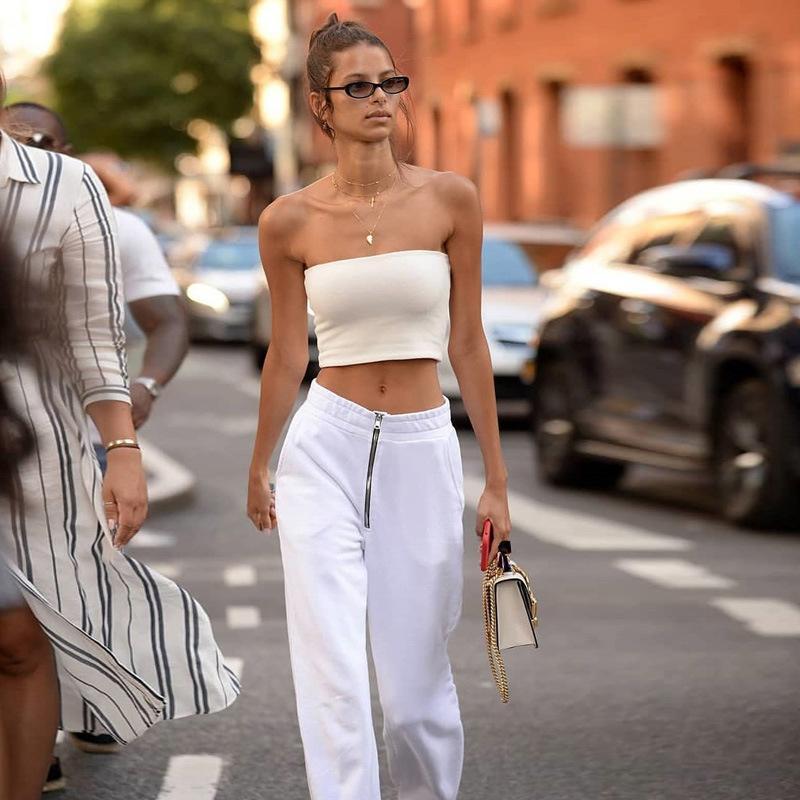 Primavera / Estate 2019 nuovo fronte Zipper bianche normali diritte dei pantaloni europei e americani femminile Sport pantaloni casual per la femmina
