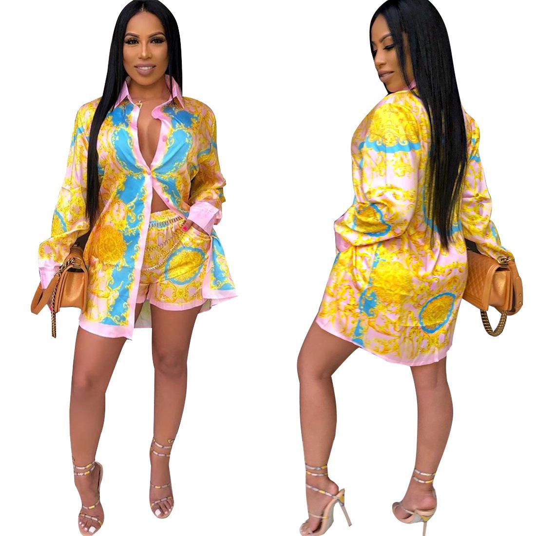 Heißer Verkaufs-Printed-Hemd 2-teiliges Set Frauen-volle Hülsen-lange Art-Bluse Top und Tasche kurze Hosen Fashion Outfits