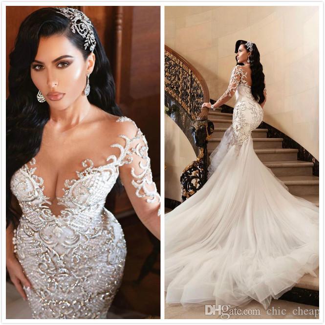 2019 Luxurious Sexy Arabic Wedding Dresses Mermaid Beading Embroidery Bridal Dresses Sheer Neck Long Sleeves Wedding Gowns ZJ194