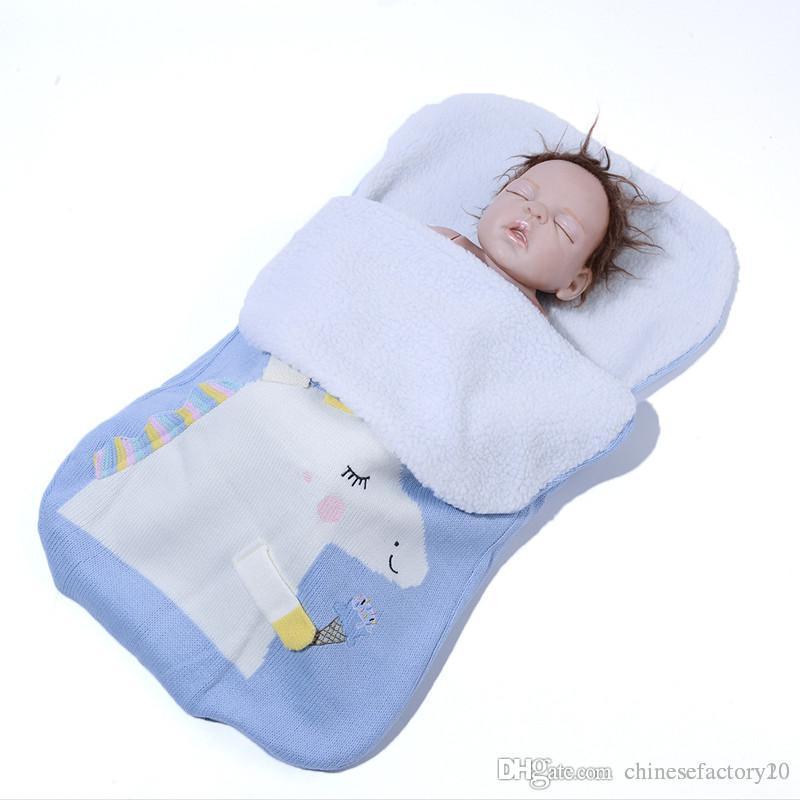 70x40 cm Baby Unicorn Sleeping Bag Crochet Blankets Cocoon Mattress Sofa Blanket Knitted Strollers Nursery Sleeping Bags Warm Soft Material