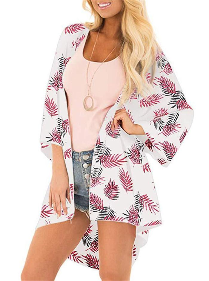 Summer Beach Sunscreen Blouse Floar Printed Long Sleeve Cape Women Fashion Loose Coat Prevent Bask Clothes