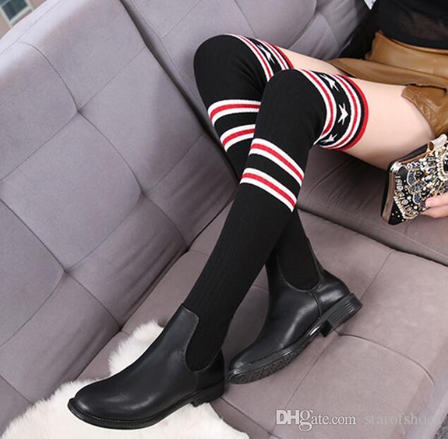 2019 calze di marca di moda stivali donne sopra gli stivali alti al ginocchio autunno inverno scarpe a maglia coscia alta stivali alti elastico formato sottile 35-42