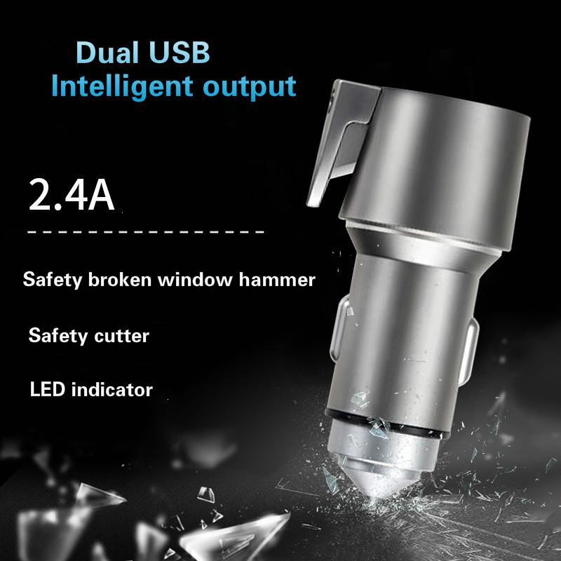 DHL Ücretsiz Yeni Evrensel Hızlı 1 USB Araç Şarj Cihazı Emniyet Kemeri Kesici Acil Hammer Baharda Şarj 3 Loaded Cam Kırıcı Jilet İÇİN Keskin