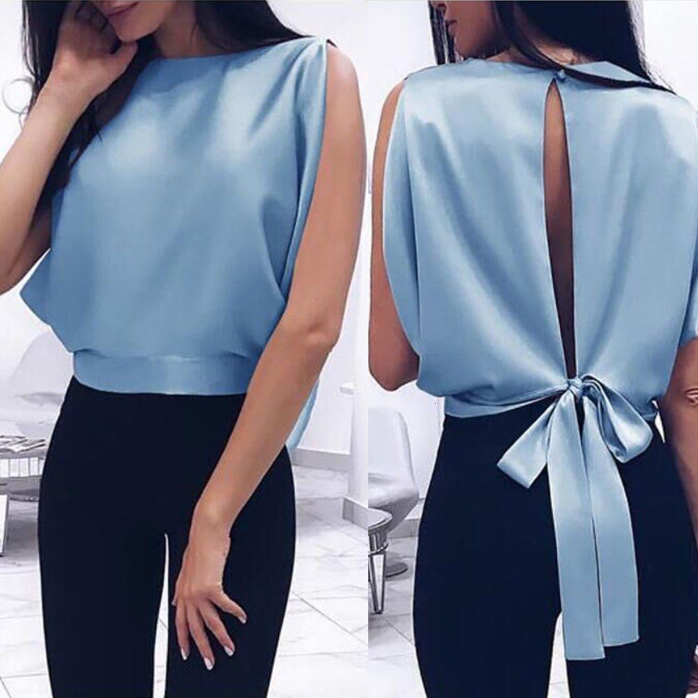 Mujeres top de la blusa de la mujer Ropa ocasional de las mujeres de la blusa sin espalda Tops Mujer coreana sólido Señoras de la camisa blanca Blusas Blusas Tops del ajustado