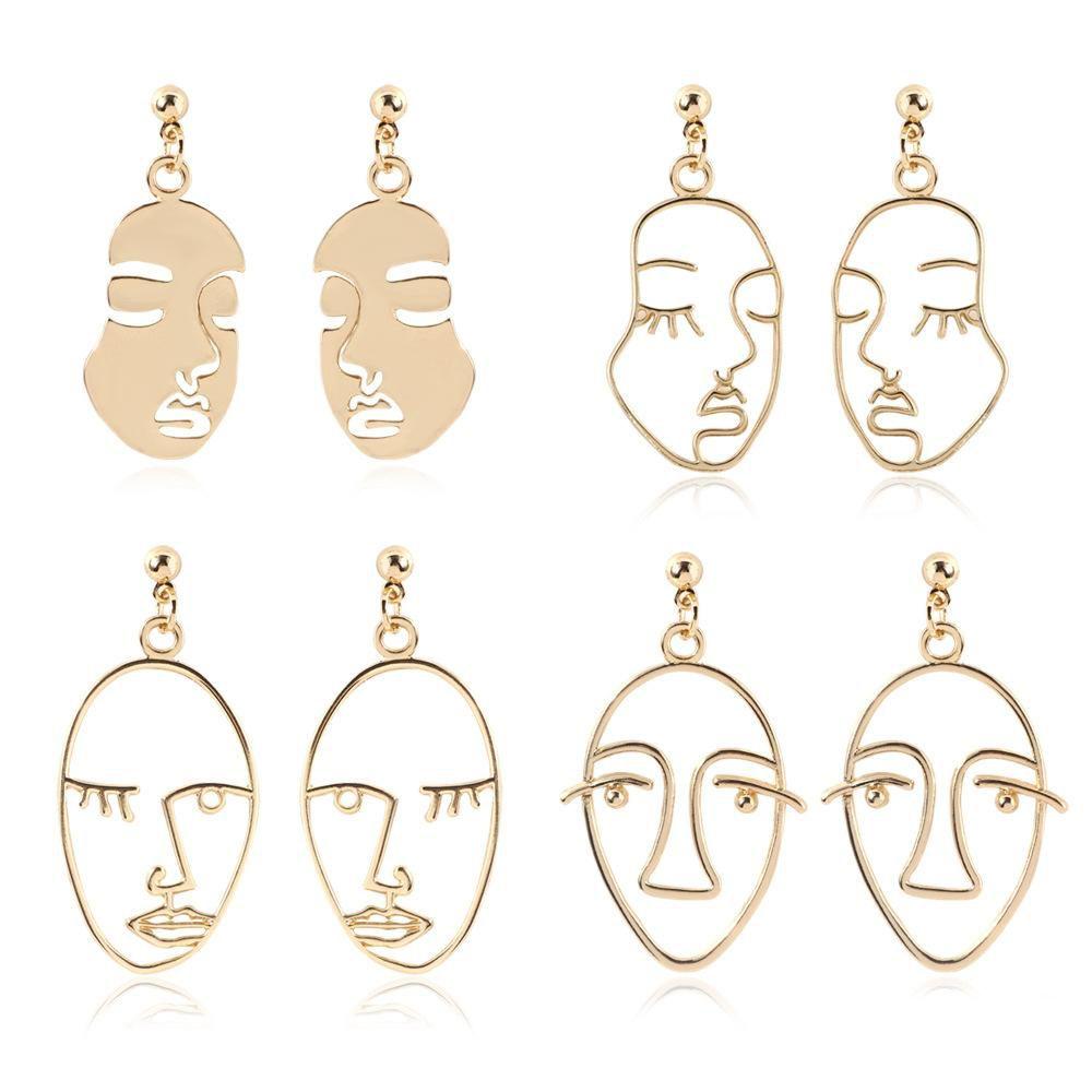 Plus récent Designer Déclaration Visage Boucles d'oreilles Boucles d'oreilles pour Femmes Filles 2020 Nouveau bijoux à la mode INS style
