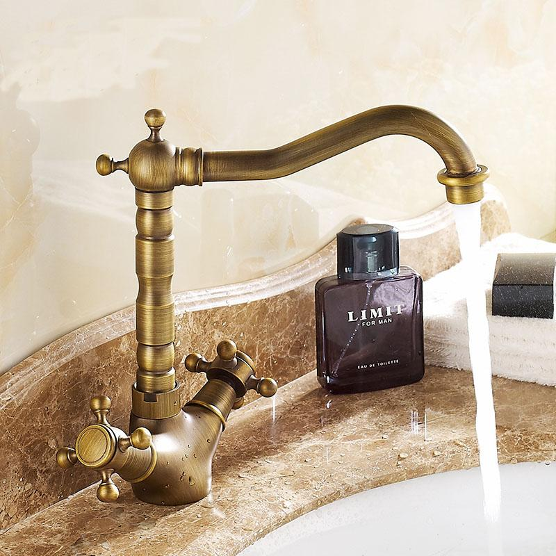 Retro short or long brass sink basin faucet, Bathroom wash basin faucet hot and cold, Antique copper kitchen water tap mixer