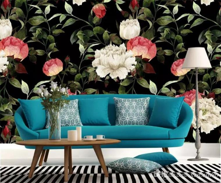 تخصيص أي حجم 3D جدارية خلفية الرجعية رسمت باليد وحة مائية زهرة غرفة المعيشة غرفة نوم منزل زهرة جدارية خلفية