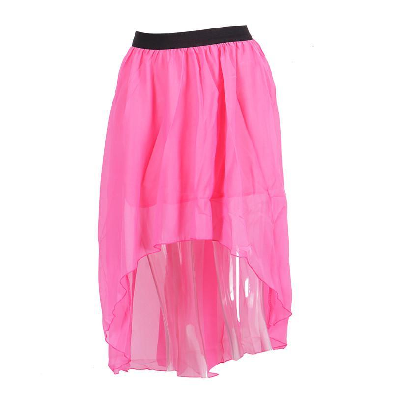 Kadınlar Mini Etekler Yeni Katı Renk Moda Düzensiz Gevşek Casual Underskirts Kadın Dantel Tül Şeffaf Mesh şifon Sahil Etek