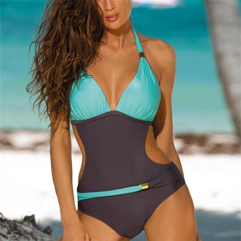 الدعاوى من قطعة واحدة مثير قطعة واحدة ملابس السباحة النساء ملابس السباحة دفع ما يصل Monokini ملابس أنثى الرسن مبطن السباحة Trikini بالاضافة الى حجم ثوب السباحة
