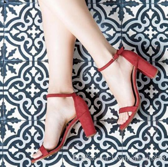 Nude Red Faux Wildleder High Heels Gladiator Sandalen Knöchel Schnalle Damen Pumps Offene spitze Block Heels Frauen Party Schuhe