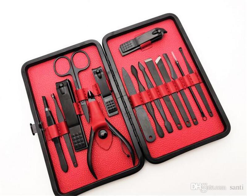 새로운 건강 15pcs / set 전문 스테인레스 스틸 손톱 클리퍼 키트 페디큐어 가위 트위터 나이프 EarPick 매니큐어 세트 네일 아트 도구