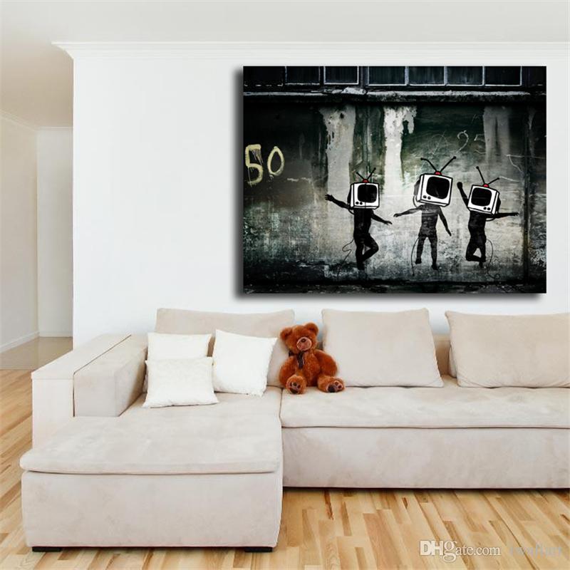 بانكسي تلفزيون رجل الحضري الكتابة على الجدران جدران قماش اللوحة طباعة غرفة المعيشة ديكور المنزل الحديثة جدار الفن النفط الطلاء المشارك عمل فني