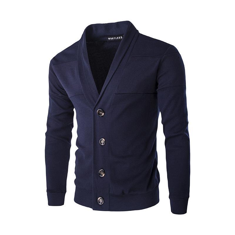 Autumn Men Sweatshirts Casual Button Lapel Neck Sweatshirts Long Sleeve Cotton Knit Cardigan Slim Fit Pull Homme Multicolor