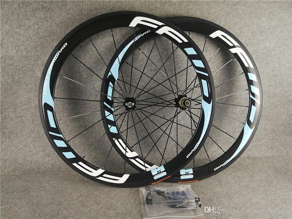 700c 3K Glossy Light Blue logo FFWD F5R 50mm carbon road bike wheels with 23mm width Black Novatec A271 hubs free shipping