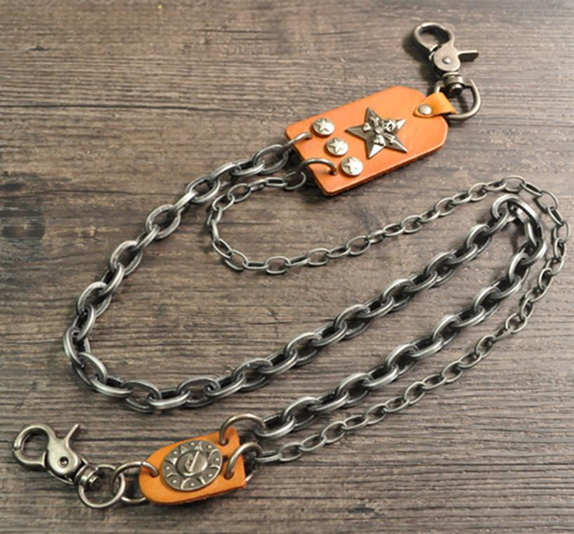 Metal 2 Layers Leather Buckle Ring Rock Punk Key Chains Clip Hip Hop Jewelry Pants KeyChain Wallet Chain Waist Chains