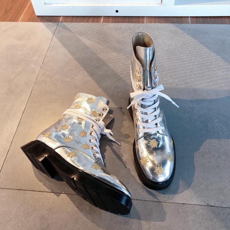 핫 Sale- 디자이너 여성 신발 패션 영국 부츠 라운드 토 마틴 부츠 라운드 발가락 패션 놓은 발목 부츠 태양 꽃 옷