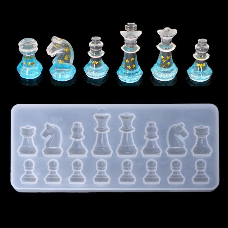 Moule de silicone d'échecs internationaux argile de bricolage bricolage UV résine époxyde moule moules pendant pour les bijoux