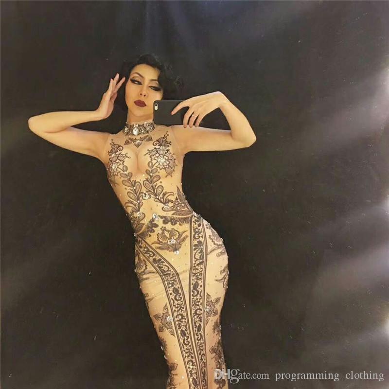 S45 strass longue robe longue de la hanche robe podium spectacle porte combinaison salopette chanteur pôle tenue de danse dj disco bar performance vêtements vêtement