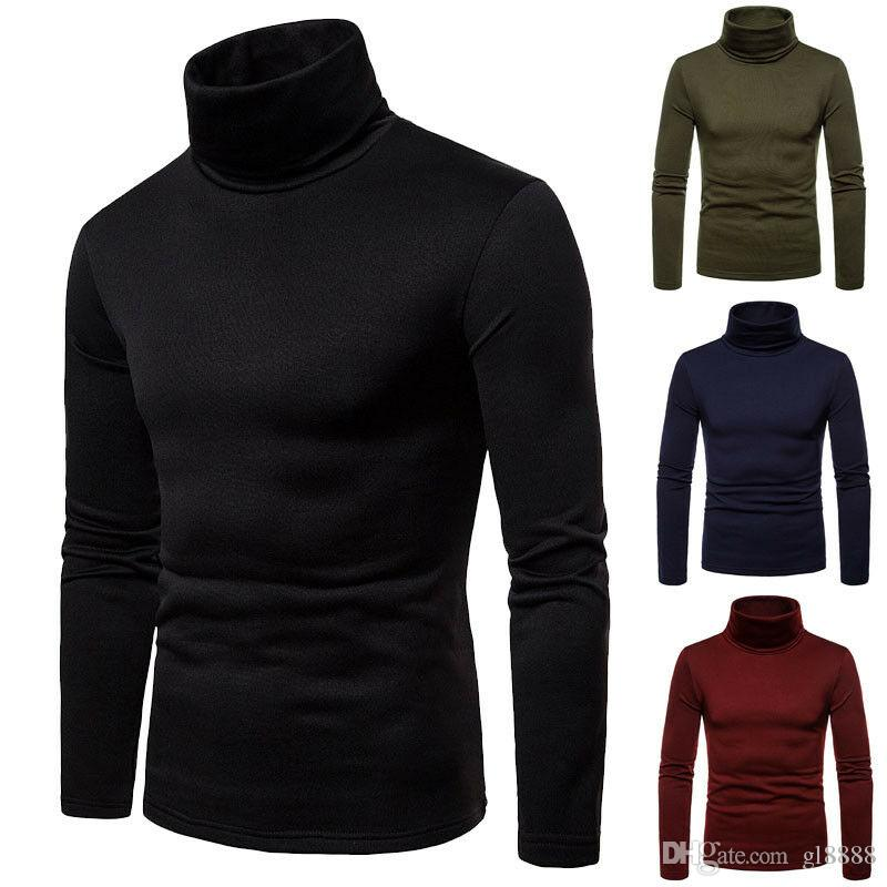 2019 New Autumn Winter Men 's Sweater Men 's 터틀넥 Solid Color Casual Sweater Men 's Slim Fit Brand Knitted Pullovers