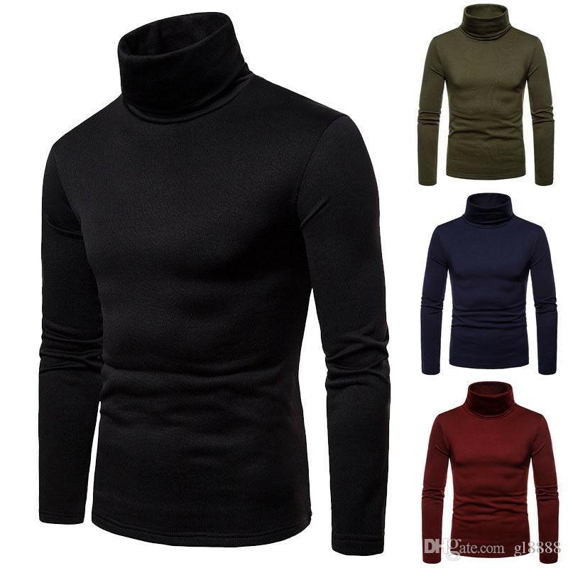 2019 neue Herbst Winter Herren Pullover Herren Rollkragen Einfarbig Casual Pullover Herren Slim Fit Marke Strickpullover