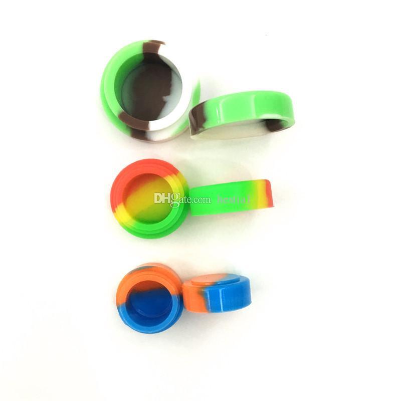 2ml + 3ml + 5ml birleşik yuvarlak silikon kap, füme yağlı kozmetikler gibi toz veya sıvıyı tutmak için karanlıkta aydınlatılabilir.