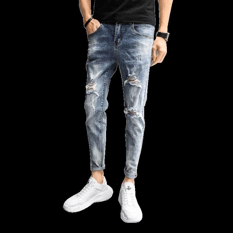 Mens Cool Designer Brand Blue Jeans Skinny Ripped Destroyed Stretch Slim Fit Hop Hop Pants With Holes For Men Clothes 2019 34-28