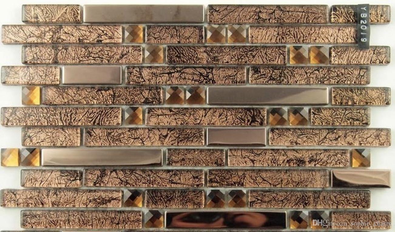 - 2020 Brown Glass Mosaic Stainless Steel Backsplash Tile SSMT150 Gold Metal  Glass Mosaic Bathroom Tiles From Sophie_charm, $14.87 DHgate.Com