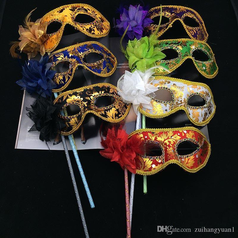 дизайнерская маска для лица новые маски для вечеринок Золотая ткань с покрытием Цветочная сторона Венецианский Маскарад маска для вечеринок на палочке карнавал Хэллоуин костюм