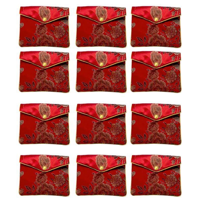 Joyería de bolsas de almacenamiento de seda tradición china monedero de la bolsa regalos de joyas Organizador H4GD