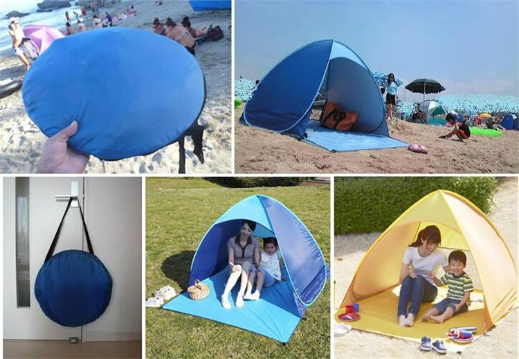 Wholesale-Automatic Portable Pop Up Tents For 2-3 Person Outdoor Hiking Camping Sunny Shade Tent Beach Shelters UV Protection Multicolors