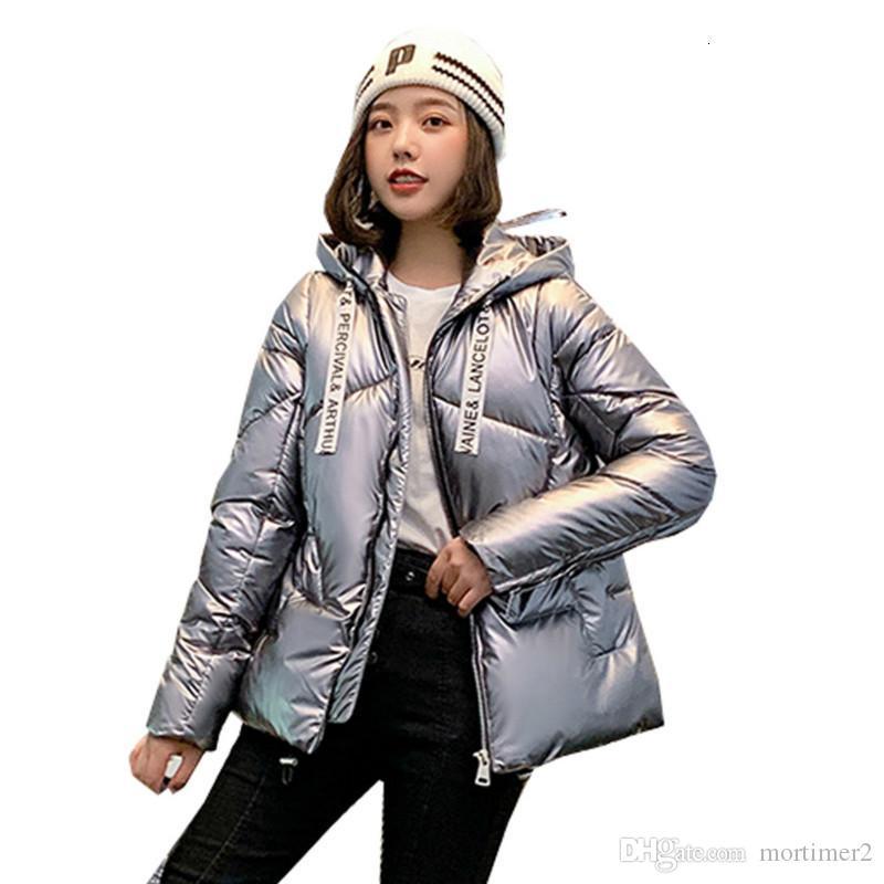 Погон Женского Puffer Jacket Женщина с капюшоном пальто зимы Твердого Glossy Warm Bubble Parka Abrigos Mujer Invierno 2019 Chaqueta Mujer