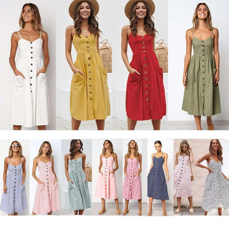 Femmes Robes Bouton rayé en coton imprimé lin Casual robe d'été 2019 Sexy Spaghetti Strap encolure en V Encolure Femmes Robe mi-longue Vestidos