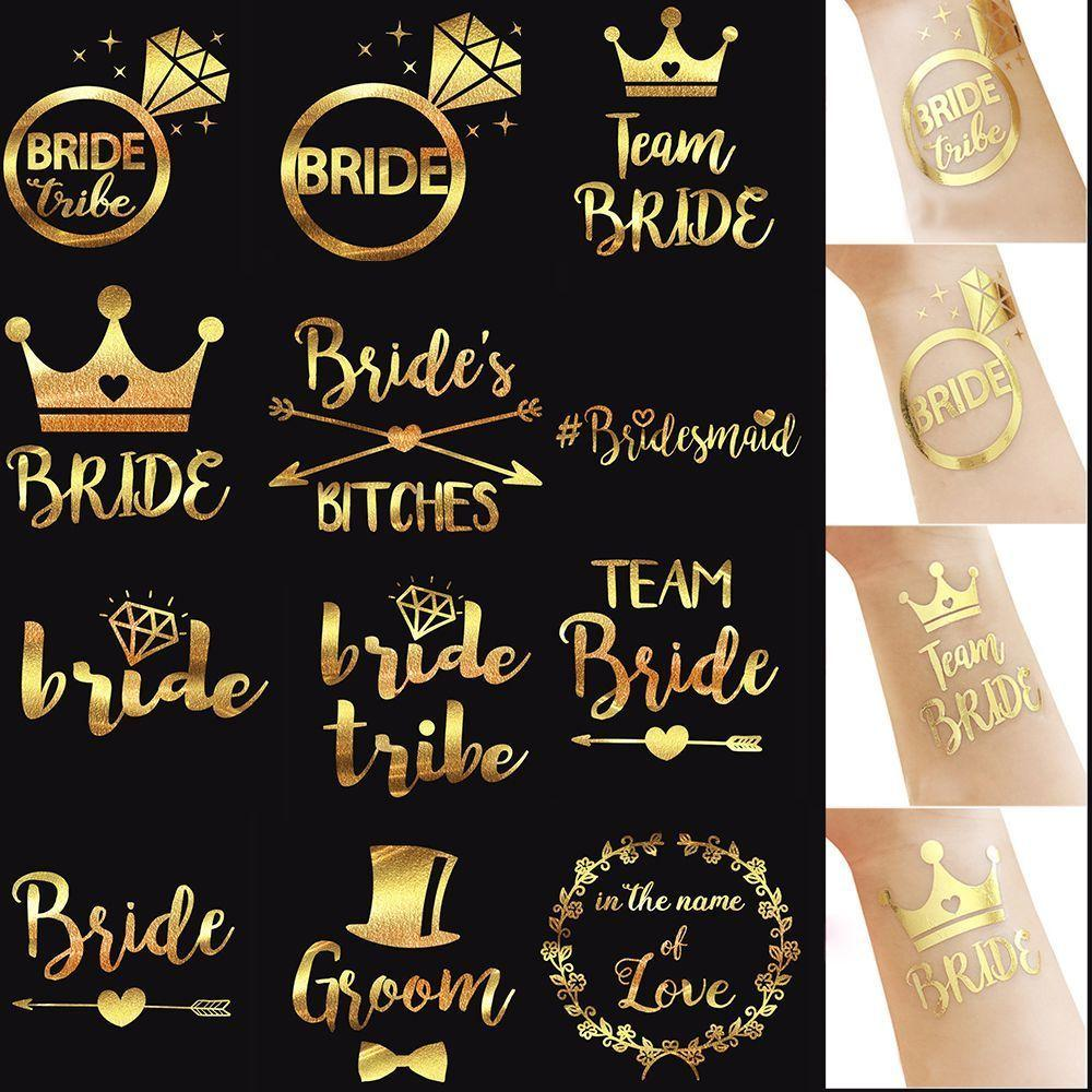 1 Pc Fashion Waterproof Body Art Gold Temporary Tattoo Arm Sticker Bachelorette Party Bridesmaid Wedding Accessories Summer