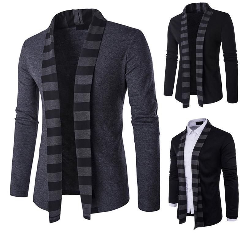 Los hombres ocasionales de la chaqueta de punto Cardigan Otoño Invierno Slim Fit capa caliente outwear fino cuello alzado con capucha Tops YL5