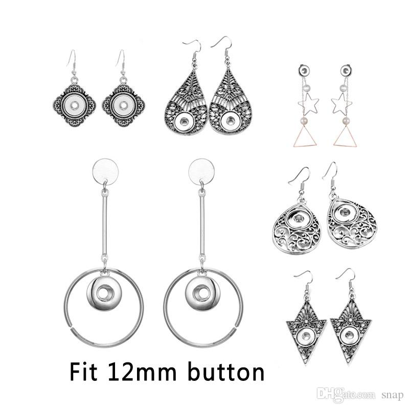 New Fashion Interchangeable Crystal 003 Earring Fit 12mm Snap Button Earring For Women Christmas Gfit Charm Jewelry
