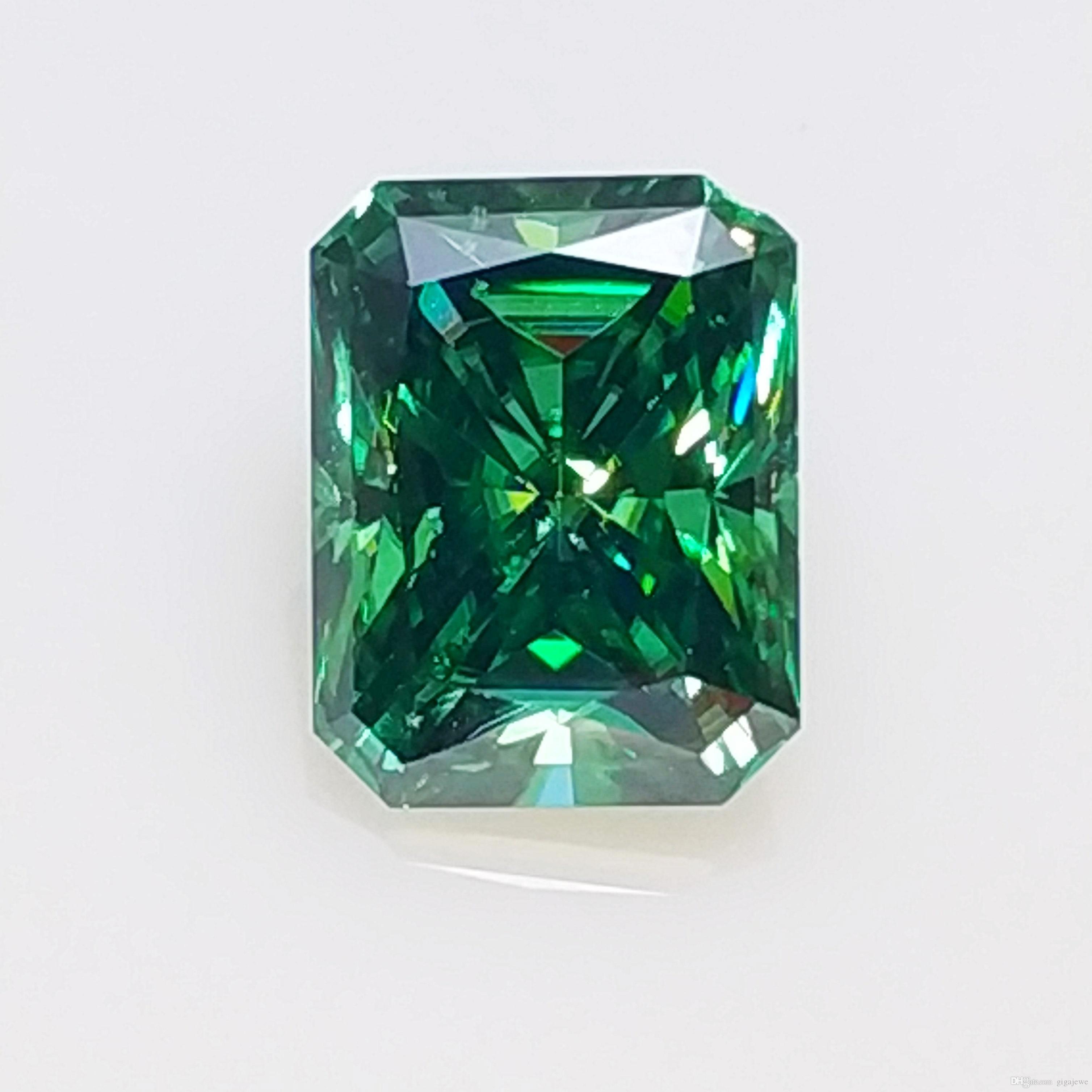 100% Real GIGAJEWE Color verde Tamaño Grande Corte Radiante Moissanite Piedra Preciosa Suelta Por Excelente Corte Envío Gratis