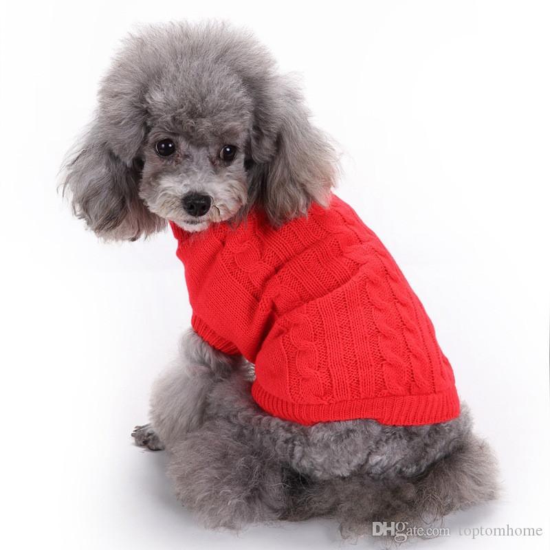 Perros suéter de otoño invierno Perro ropa caliente del color sólido transpirable traje gatos pequeños perros mascotas Escudo con capucha chaquetas Outerwears