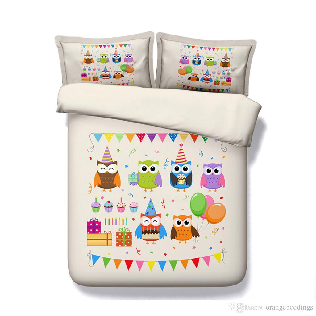 Coruja Capa de Edredão Set Decorativo 3 Peça Conjunto de Cama Com 2 Travesseiros Shams Para Meninos Meninas Crianças Adolescentes 3D Quilt Cover Bedlinens Sem Consolador