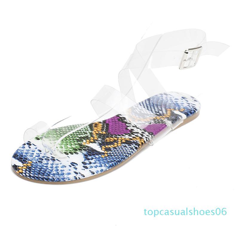 Été 2020 Designer femmes PVC transparent talons bas sandales Flats serpent d'or Imprimer Sandales plates Tongs Taille Plus Chaussures 06T