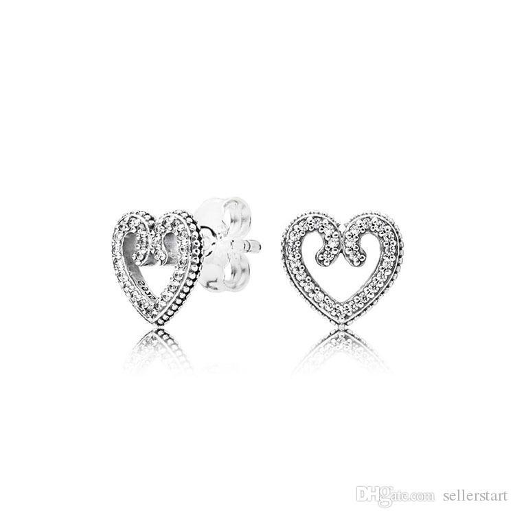 CZ 다이아몬드 고품질 사랑 소용돌이 레이디 스터드 귀걸이와 판도라 925 스털링 실버 핫 달콤한 세련된 하트 스터드 귀걸이