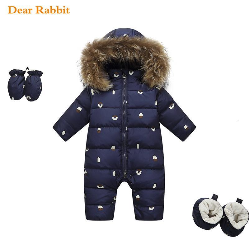 neugeborene Overall Kinder Winterbabykleidung Schneeanzug Naturfell 90% Ente Daunenjacke für Park Mädchenmantel für Junge Overalls Strampelhöschen CJ191210