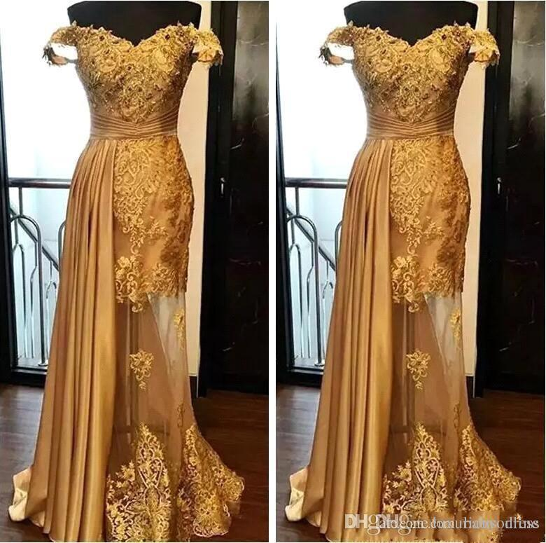 2019 Off The Shoulder Long Evening Dresses Arabic Golden Tulle Applique Ruched Beaded Floor Length Pageant Formal Party Gowns Prom Robes