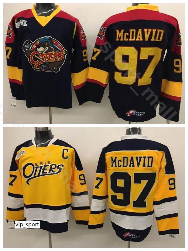 Erie Suitters Edmonton 97 Connor McDavid Koleji Jersey Erkekler Buz Hokeyi Premier Ohl CoA Team Rengi Siyah Uzakta Sarı Kalite
