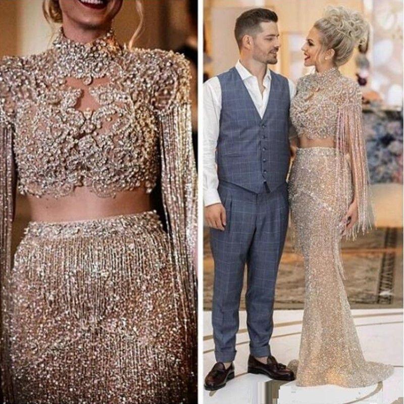 2020 ASO EBI Arabiska guld lyxiga sexiga kvällsklänningar Beaded Crystals Mermaid Prom Klänningar Sequined Formal Party Andra reception